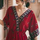V-neck Printed Elbow-sleeve Maxi Dress