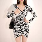 Floral Long-sleeve Sheath Mini Dress