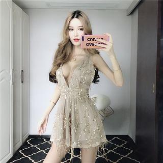Sleeveless Sequined A-line Mini Dress
