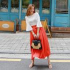 Buttoned Long Flare Skirt
