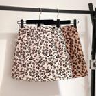 Leopard Print A-line Mini Skorts
