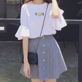 Set: Printed Elbow-sleeve T-shirt + Plaid A-line Skirt