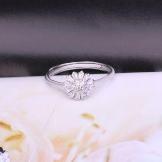925 Sterling Silver Rhinestone Flower Open Ring White - One Size