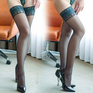 Lace Trim Stocking Peacock - One Size
