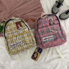 Plaid Embroidered Canvas Backpack