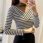 Mesh Panel Striped Knit Top