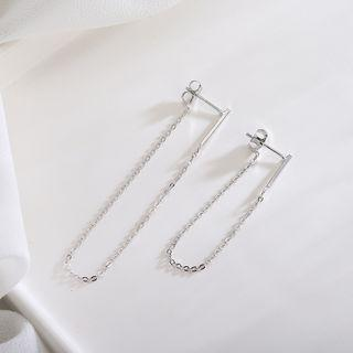 925 Sterling Silver Chain Dangle Earring Es654-2 - 1 Pair - One Size