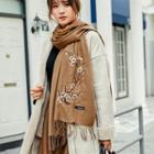 Floral Embroidered Fringed Scarf