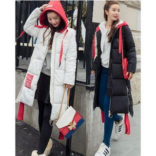 Color Panel Hooded Long Padded Coat