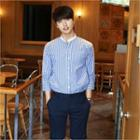Mandarin-collar 3/4-sleeve Striped Shirt