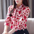 Heart Pattern Chiffon Shirt
