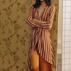 Long-sleeve V-neck Stripe Asymmetrical A-line Dress