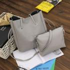 Set Of 2: Faux Leather Shopper Bag + Crossbody Bag