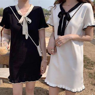 Short-sleeve Frill Trim Mini Knit Dress