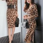 Long-sleeve Leopard Print Dress