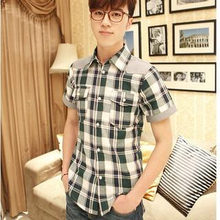 Short-sleeve Plaid Panel Shirt