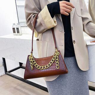 Croc Grain Chain Strap Shoulder Bag