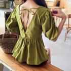 Puff-sleeve Tie-back A-line Top