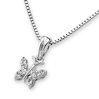 18k White Gold Butterfly Diamond Accent Pendant Necklace (0.11 Cttw) (free 925 Silver Box Chain, 16)