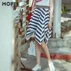 Stripe Asymmetrical Midi Skirt