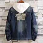Ripped Denim Jacket / Printed Zip Jacket