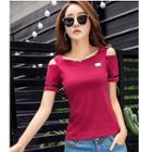Shoulder-cutout Short-sleeve T-shirt