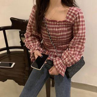 Bell-sleeve Plaid Smocked Top Red - One Size