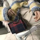 Woolen Plaid Mini Satchel With Pouch