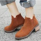 Chunky-heel Stitching Ankle Boots