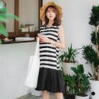 Mermaid Tail Sleeveless Striped Dress