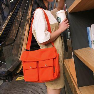 Canvas Double Front Pocket Messenger Bag