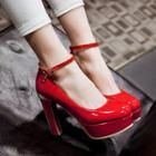 Ankle Strap Chunky Heel Platform Pumps