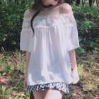 Lace Trim Off-shoulder Short-sleeve Top