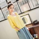 Set Of 2: V-neck Buttoned Top + Camisole Top