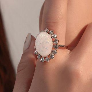 Rhinestone Ring 01 - 3667 - Gold - One Size