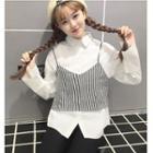 Set: Plain Shirt + Striped Camisole Top