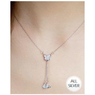 Butterfly-pendant Silver Chain Necklace