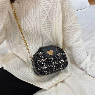 Chain Strap Quilted Crossbody Bag / Tweed Crossbody Bag