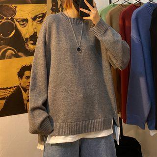 Unisex Mock Two-piece Loose-fit Sweater