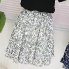 Floral Print Chiffon Mini Skirt