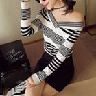 Striped Off Shoulder Knit Pullover