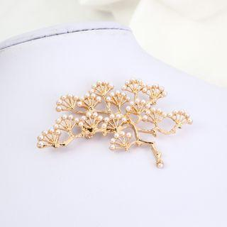 Faux Pearl Alloy Branches Brooch Gold - One Size