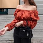 Puff-sleeve Off Shoulder Crinkled Top Brick Red - One Size
