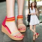 Striped Strap Wedge Sandals