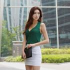 Collared Sleeveless Buttoned Knit Top