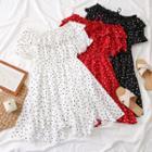 Boatneck Dotted Mini Dress