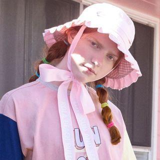 Reversible Beribboned Pleated Bucket Hat Pink - One Size