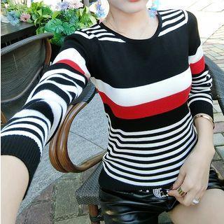 Round Neck Multicolor Striped Knit Top