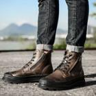 Genuine-leather Lace-up Zip-side Ankle Boots