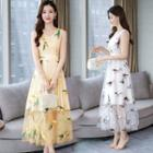 Sheer Panel Sleeveless Midi A-line Dress